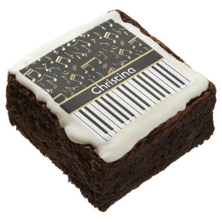 Elegant golden music notes piano keys square brownie