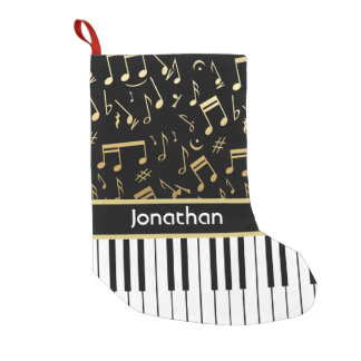 Elegant golden music notes piano keys small christmas stocking