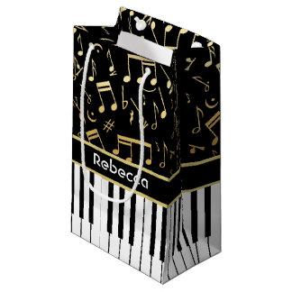 Elegant golden music notes piano keys small gift bag