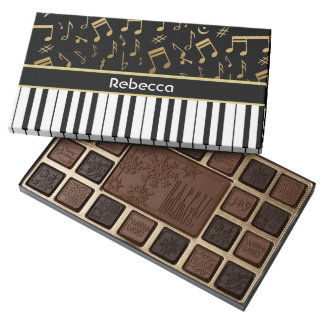 Elegant golden music notes piano keys 45 piece assorted chocolate box