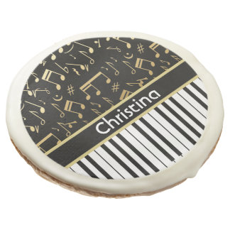 Elegant golden music notes piano keys sugar cookie