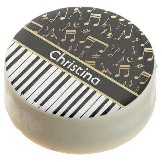 Elegant golden music notes piano keys chocolate dipped oreo