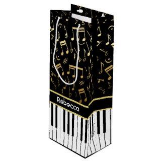 Elegant golden music notes piano keys wine gift bag