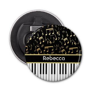 Elegant golden music notes piano keys button bottle opener