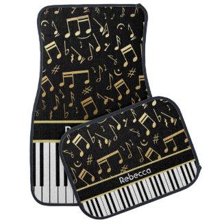 Elegant golden music notes piano keys car mat