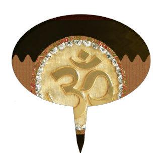 Elegant Golden OM MANTRA Chant Display Holy Symbol Cake Topper