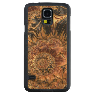 Elegant Golden Orange Cream Liquid Silk Fractal Carved Maple Galaxy S5 Slim Case