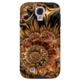 Elegant Golden Orange Cream Liquid Silk Fractal Galaxy S4 Case