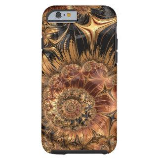 Elegant Golden Orange Cream Liquid Silk Fractal Tough iPhone 6 Case
