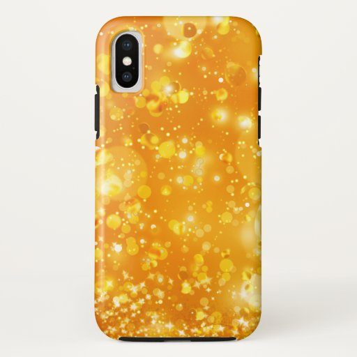 Elegant Golden Orange Sparkling Bokeh iPhone Case