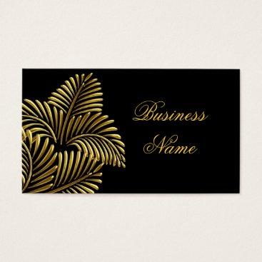 Professional Business Elegant Golden Palm Gold Black Business Card