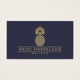 Elegant Golden Pineapple Logo on Dusky Blue Business Card