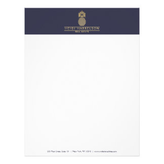 Elegant Golden Pineapple Logo on Dusky Blue Letterhead