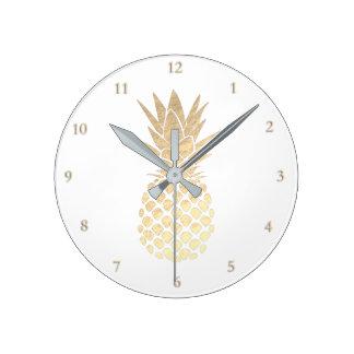 elegant golden pineapple round clock