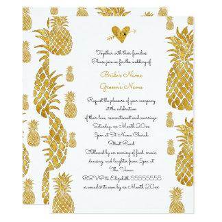 elegant golden pineapples tropical summer wedding card