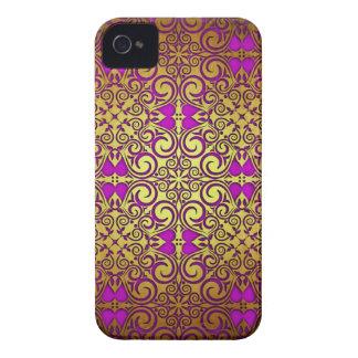 Elegant Golden Purple Fade Damask Swirls iPhone 4 Case-Mate Cases
