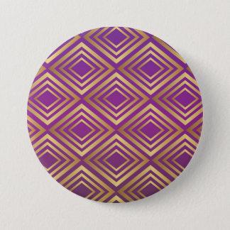Elegant Golden Purple Violet Diamond Pattern Pinback Button