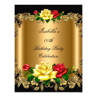 Elegant Golden Red Yellow Roses Birthday Party 2b 4.25x5.5 Paper Invitation Card