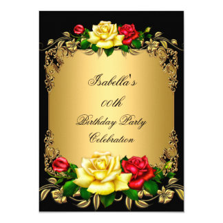 Elegant Golden Red Yellow Roses Birthday Party A Card