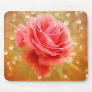 Elegant Golden Rose Glow Mouse Pad