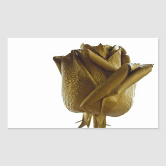 Elegant Golden Rose Rectangular Sticker