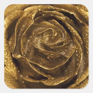 Elegant Golden Rose Square Sticker
