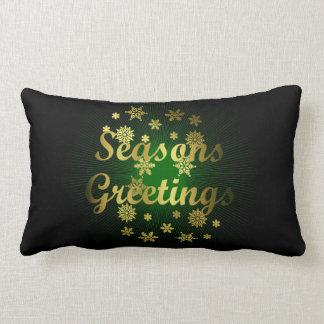 Elegant Golden Seasons Greetings Christmas Throw Pillows