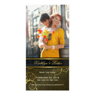 Elegant Golden Spiral Vines Classy Save The Date Card