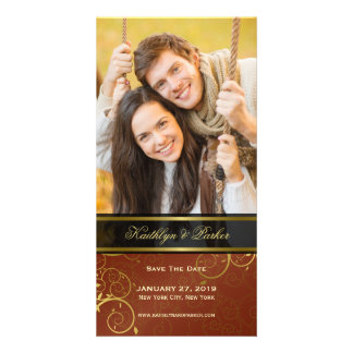 Elegant Golden Spiral Vines Classy Save The Date Photo Card Template
