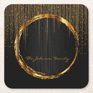 Elegant Golden Star Light Shower Square Paper Coaster