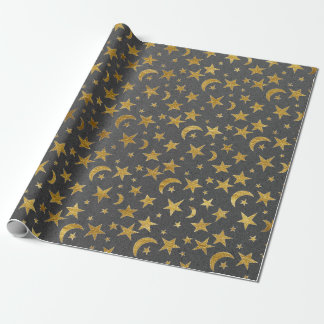 Elegant Golden Stars and Moon Gray Graphite Kraft Wrapping Paper