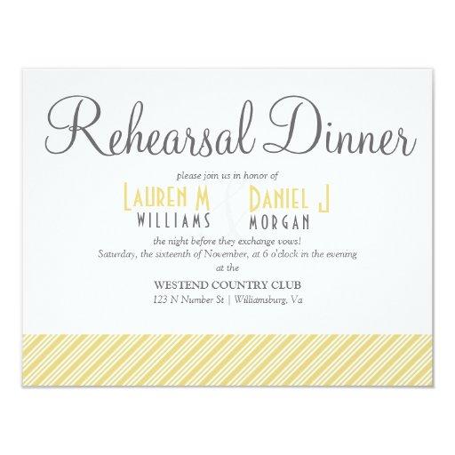 Elegant Golden Stripe Patterned Rehearsal Dinner 4.25x5.5 Paper Invitation Card