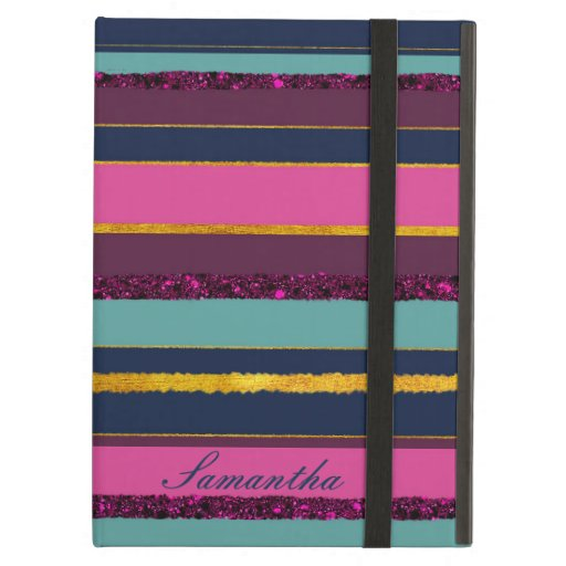 Elegant golden stripy aqua purple monogram design case for iPad air