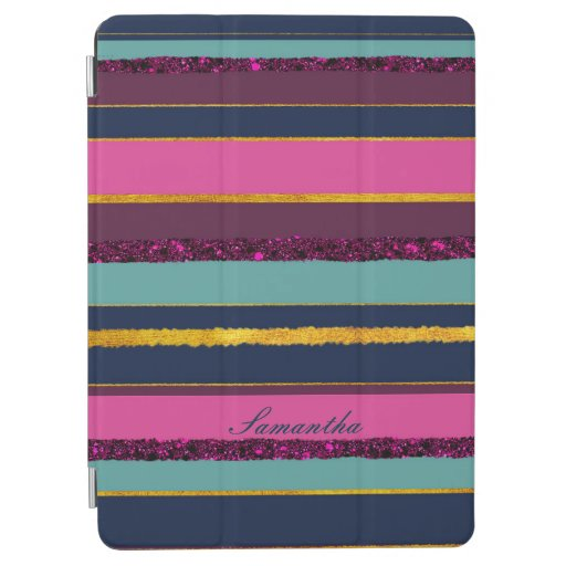 Elegant golden stripy monogram purple aqua design iPad air cover