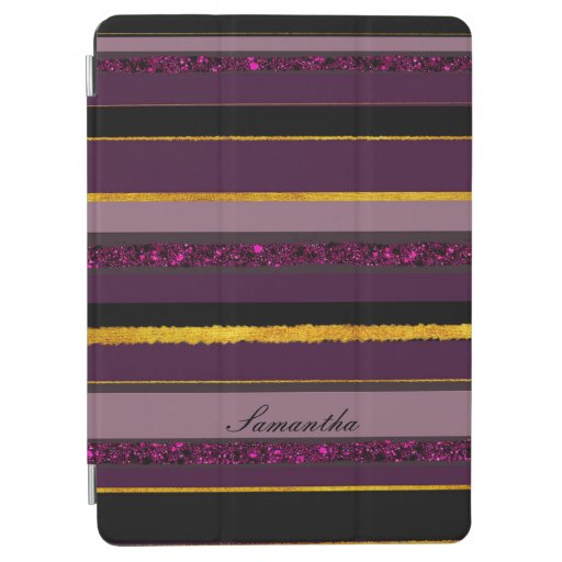 Elegant golden stripy monogram purple design iPad air cover