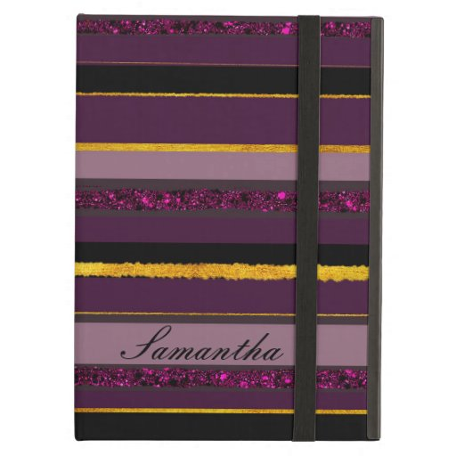 Elegant golden stripy purple monogram design case for iPad air