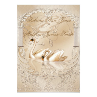 Elegant Golden Swans Formal Wedding Announcement