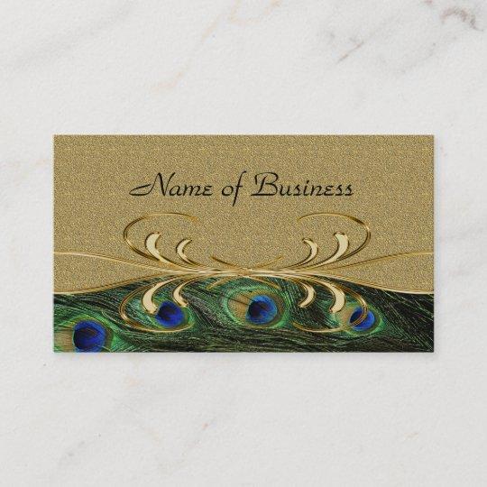 Elegant golden swirl peacock feathers double sided business card elegant golden swirl peacock feathers double sided business card colourmoves