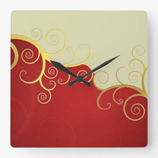 Elegant golden swirls on red and cream square wall clock