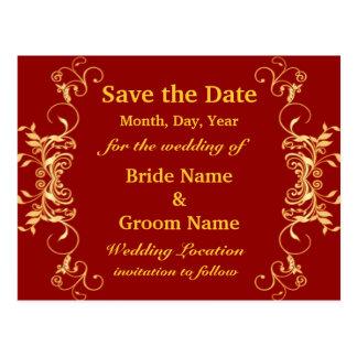 Elegant Golden Swirls Save The Date  Postcard