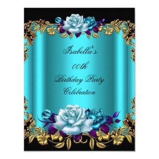 Elegant Golden Teal Blue Purple Roses Birthday Card