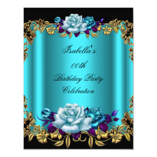 Elegant Golden Teal Blue Purple Roses Birthday 4.25x5.5 Paper Invitation Card