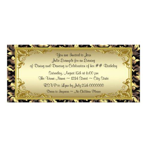 Elegant Golden Ticket Birthday Party Invitation