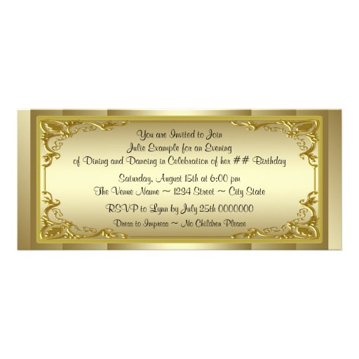 Personalized Golden ticket Invitations – Golden Ticket Party Invitations