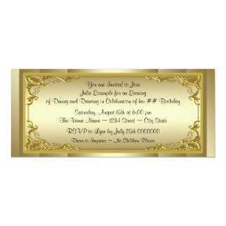 Elegant Golden Ticket Birthday Party Personalized Announcements