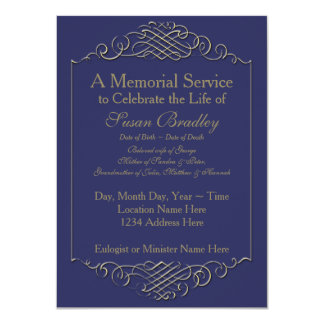 Elegant Golden Vintage Frame 2 Memorial Service Card