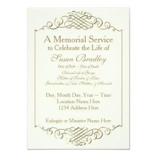 Elegant Golden Vintage Frame w 2 Memorial Service Card
