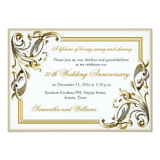 Golden Wedding Anniversary Gift Experiences : Elegant Golden Wedding Anniversary Invitations Zazzle