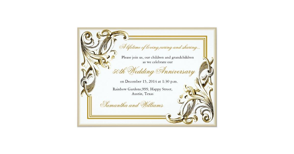Golden Wedding Anniversary Invitations: Elegant Golden Wedding Anniversary Invitations