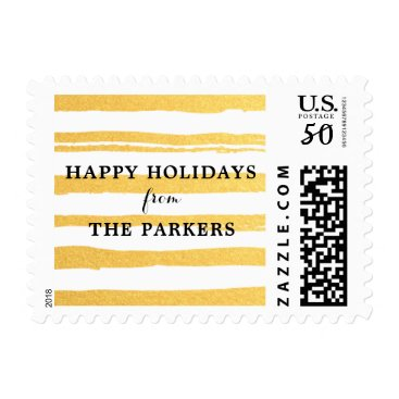 Christmas Themed Elegant Golden Yellow Stripes Holiday Stamp